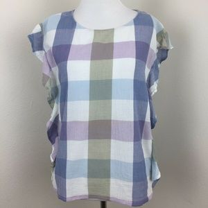 VINCE CAMUTO Color Block Side Ruffles Crew Neck XS